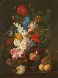 composition florale avec fruits sur entablement by jan frans van dael