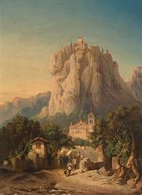 die poststraße an der burg (soldaten in balkanlandschaft mit meteora kloster) by christian jank