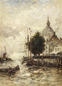 paisagem com casas e barcos by george bunn