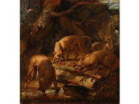 four hounds in a woodland by philipp reinagle