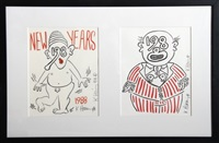 new year's invitation '88 (2 works) by keith haring