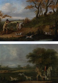 pheasant shooting (+ partridge shooting; pair) by john francis sartorius
