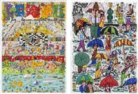 be magical...play...and leap joyfully into life/ rain (set of 2) by james rizzi