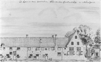 view of the pinsenhof from the schoolstraat, delft by willem van der lelie