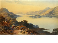 view of a loch, with a horse and cart on a path beside by james burrell smith