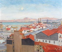 port d'alger, vue d'hussein bey by camille leroy