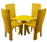garden set, table and 4 chairs by alvar and aino aalto