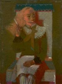 portrait de femme assise by pierre bollaert