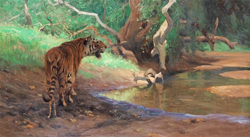 tiger am dschungelbach by wilhelm friedrich kuhnert