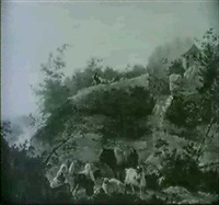 a rocky landscape with shepherdesses watching over their  livestock before a waterfall by jean-françois legillon