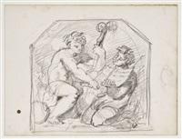 deux personnages jouant de la musique dans un encadrement décoratif (sketch) by gustave moreau
