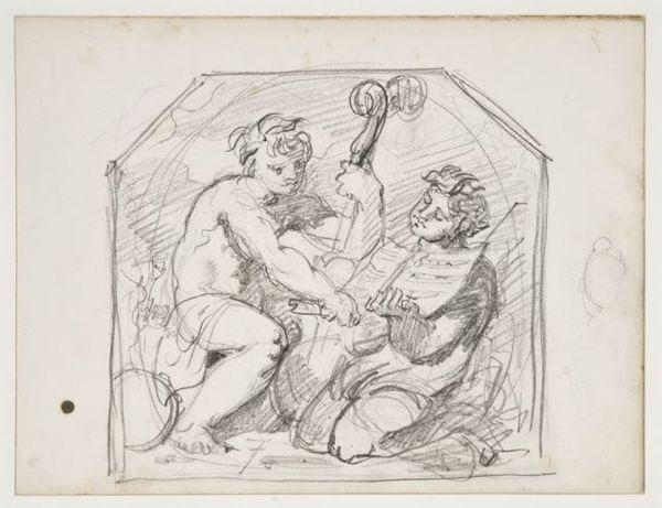 deux personnages jouant de la musique dans un encadrement décoratif sketch by gustave moreau