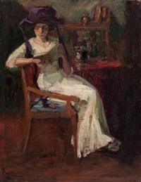 lesende dame (interieur) by lactanz von firmian