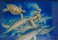 nageuse aux dauphins by daniel monic