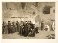 people praying at the wailing wall by alexandre bida