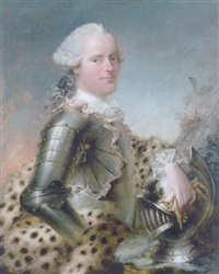 portrait of a man in armor by louis richard françois dupont