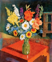 virágcsendélet piros asztalon (still life of flowers on a red table) by endre hegedüs