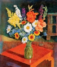 virágcsendélet piros asztalon (still life of flowers on a red table) by endre hegedüs
