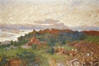 höstlandskap med hus by rikard lindström
