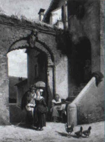 peasant family by arched steps by amanzio cattaneo