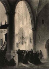 an interior of a church with numerous figures in prayer by adrianus wilhelmus nieuwenhuyzen