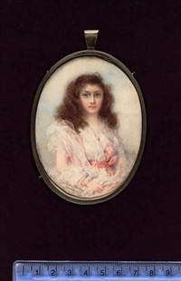 miss king, wearing white dress tied with pink ribbon waistband, gauze shawl and pendant by gertrude massey