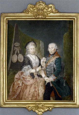 the prussian royal silver wedding anniversary portrait frederick the great king of prussia presenting a posy of pink roses holding the right hand of his wife elisabeth christine of brunswick bevern by anton friedrich könig