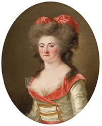 portrait of a lady, half length, wearing a pink dress by adélaïde labille-guiard