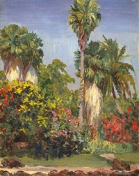 palm trees and flowers by horatio nelson poole