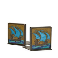 rare bookends tiles depicting ships by dirk van erp