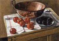nature morte aux fruits et chaudron en cuivre by joseph albert