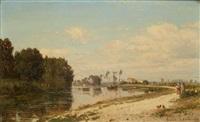 paysage de rivière by emile charles lambinet