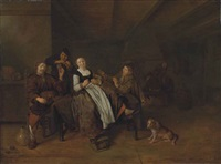 a merry group of figures sitting in a barn with a dog, others gathering around a fireplace by jan miense molenaer