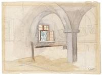 doppelseitiges studienblatt: inneres eines stalls, interieur mit einer bauernfamilie (recto/verso) by ernst graner