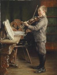 violine spielender knabe by otto piltz