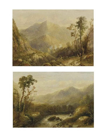 los von zwei werken vorgebirgslandschaft mit kleiner figurenstaffage an schäumendem bach gebirgslandschaft im vordergrund rechts figurenstaffage bei baumgruppe 2 works by alexandre calame