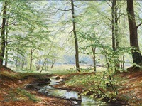 spring day at a stream in the woods by christian peder mørch zacho