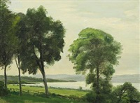open fields with tall trees on a lake by christian peder mørch zacho