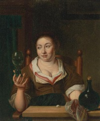young woman holding a glass of wine by ary de vois