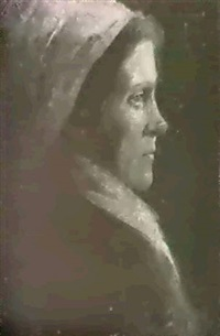 portrait of a german woman wearing a white bonnet, with a  portrait verso by stelios miliadis