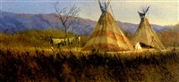 western landscapes with american indian teepes (3 works, 1 lrgr) by mark geller
