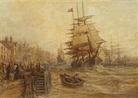 busy harbour scene, thought to be brixham by william edward webb