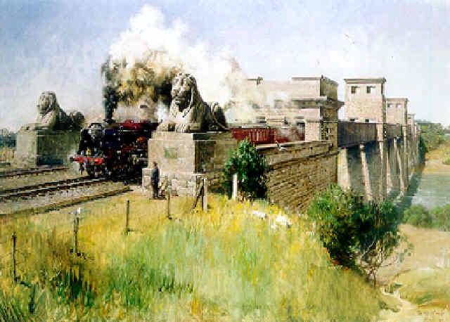 """royal scot"" on the britannia bridge, menai straits by terence cuneo"