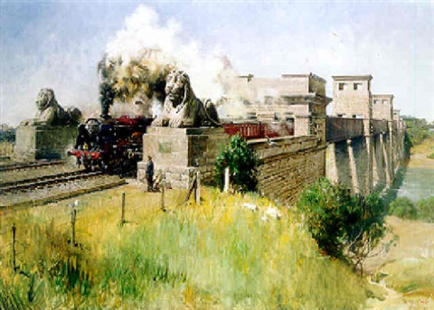 royal scot on the britannia bridge menai straits by terence cuneo