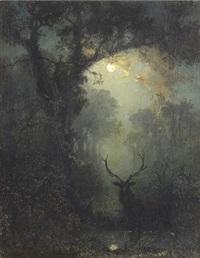 kronhjort i månskenslandskap by eugen krüger