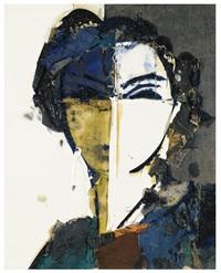 retrato sobre fondo blanco y gris by manolo valdés