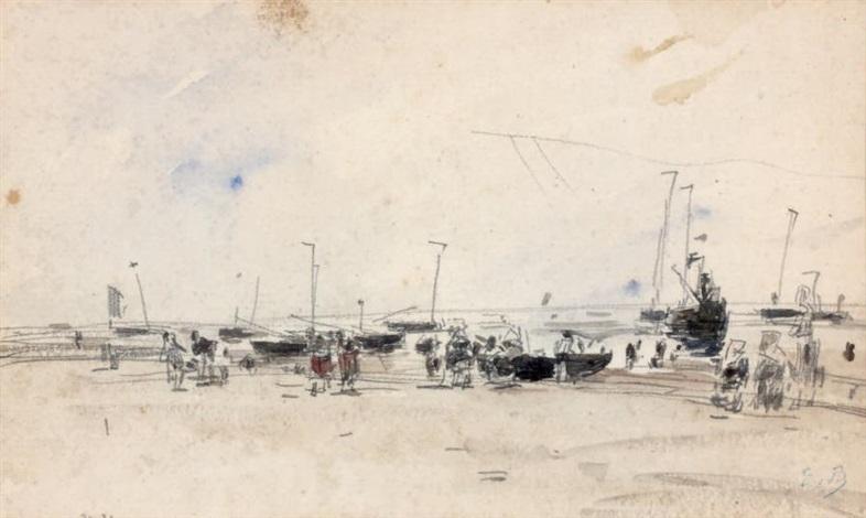 vue dun port animé by eugène boudin