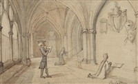 dr syntax in the cloisters at christ church, oxford by thomas rowlandson