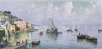 veduta di napoli con barche e pescatori by nicolo de corsi