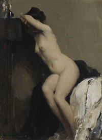 seated female nude by allan douglas davidson